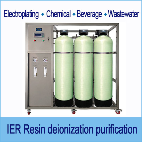 Industrial liquid purification, ion exchange system